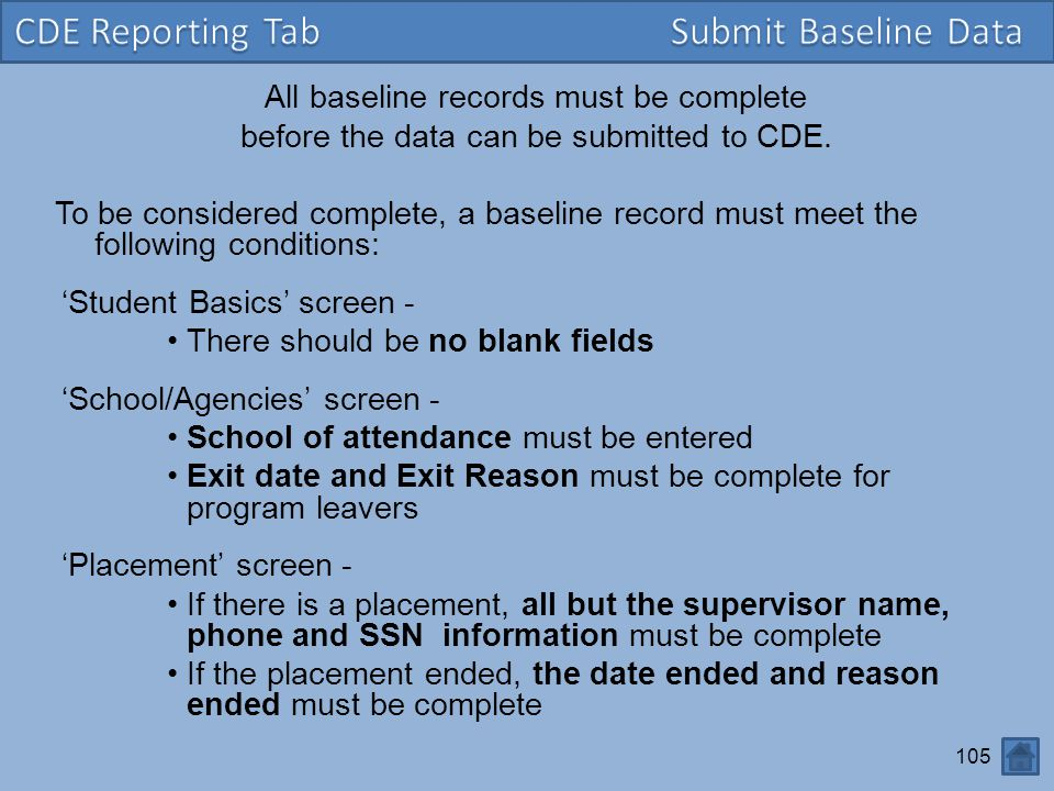 CDE Reporting Tab Submit Baseline Data