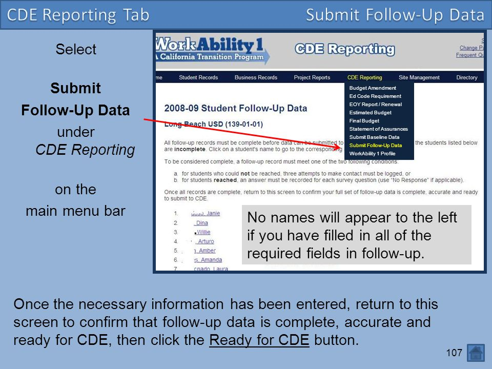 CDE Reporting Tab Submit Follow-Up Data CDE Reporting Tab
