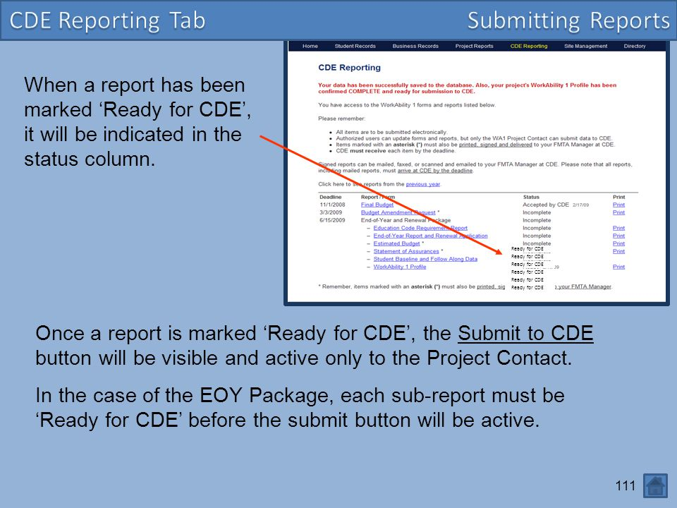 CDE Reporting Tab Submitting Reports