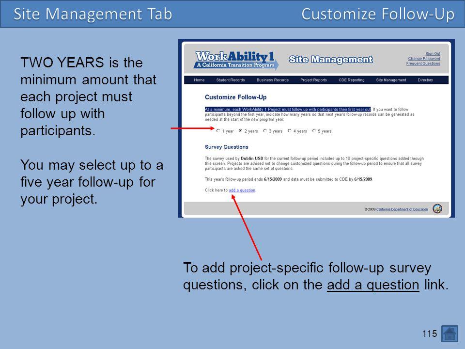 Site Management Tab Customize Follow-Up