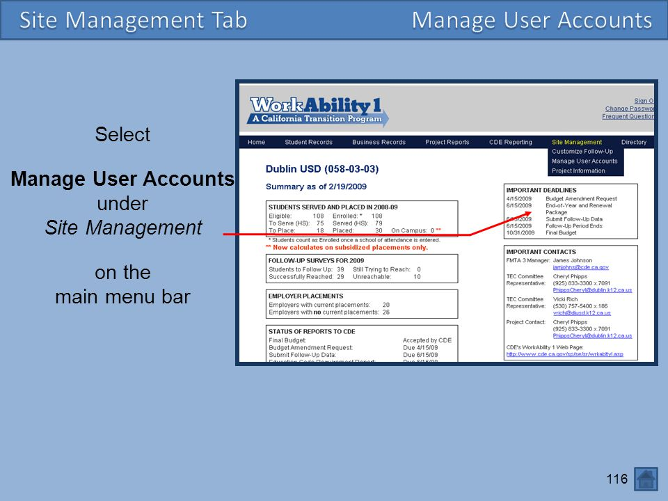 Site Management Tab Manage User Accounts Select Manage User Accounts