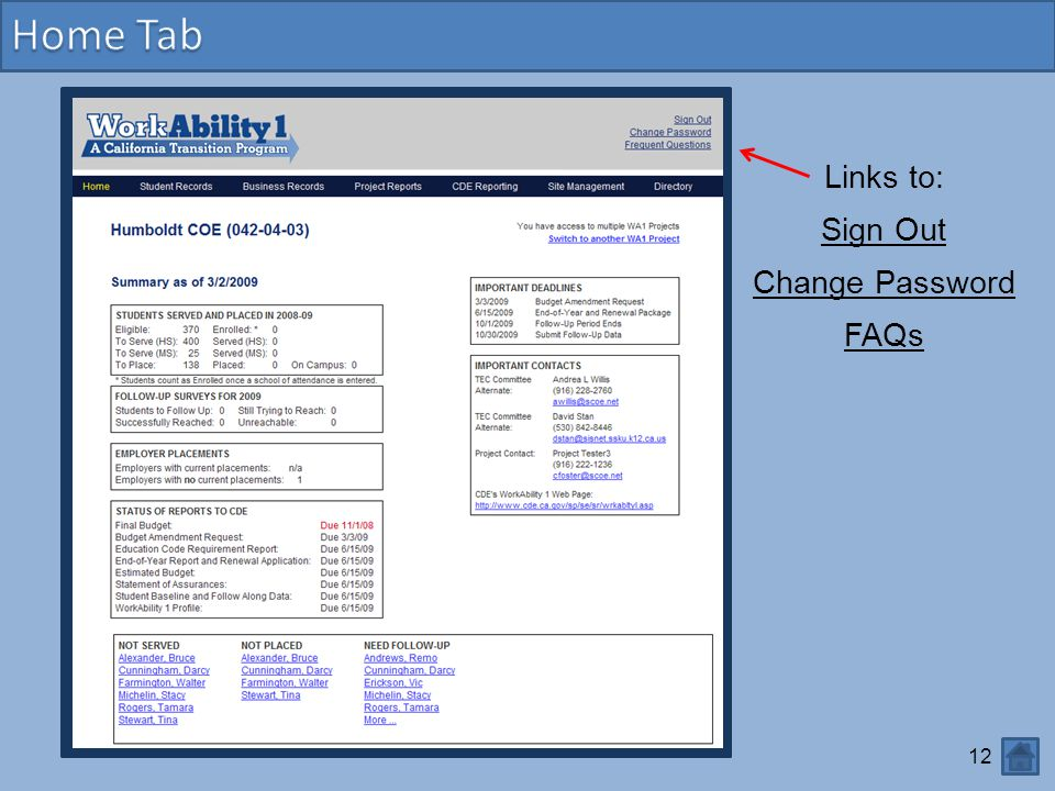 Home Tab Links to: Sign Out Change Password FAQs