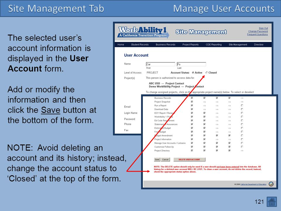 Site Management Tab Manage User Accounts