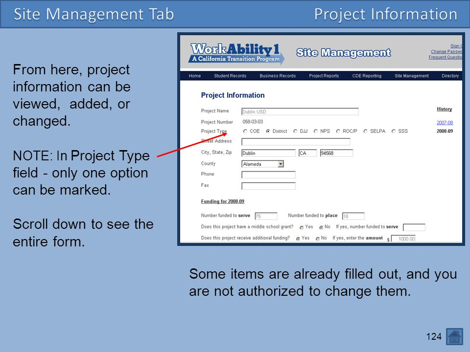Site Management Tab Project Information