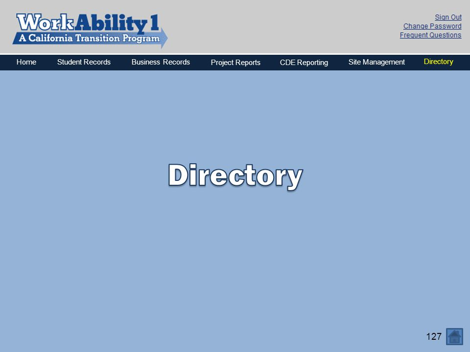 Directory Home Business Records Project Reports CDE Reporting