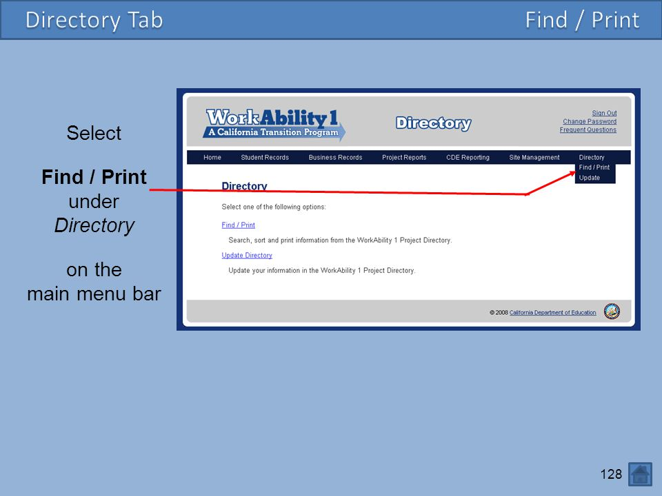 Directory Tab Find / Print Select Find / Print under Directory on the