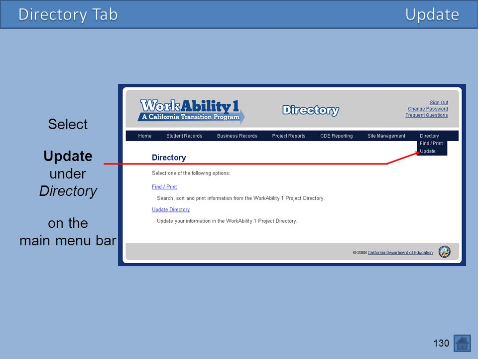 Directory Tab Update Select Update under Directory on the