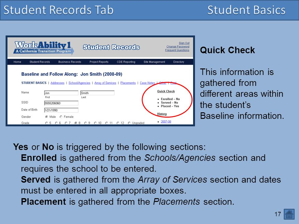 Student Records Tab Student Basics Quick Check
