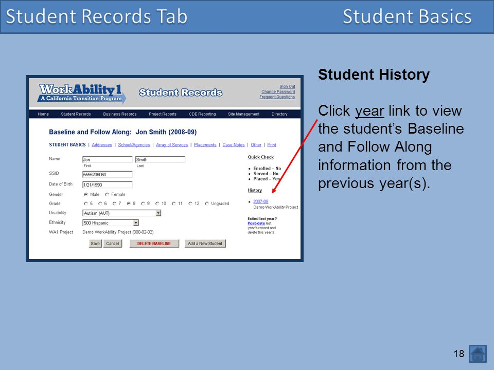 Student Records Tab Student Basics Student History