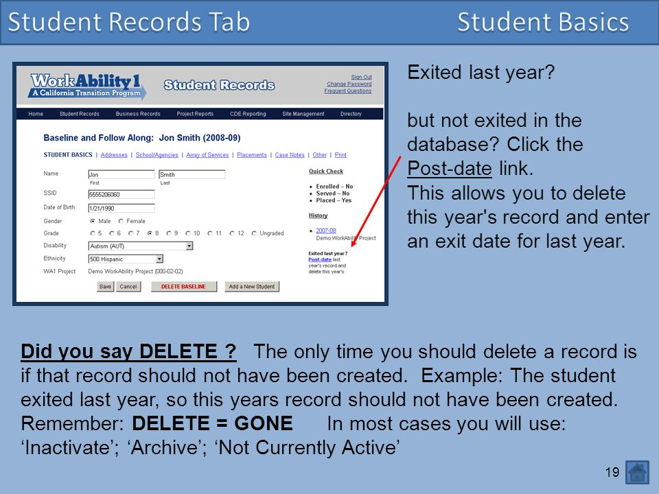 Student Records Tab Student Basics Exited last year
