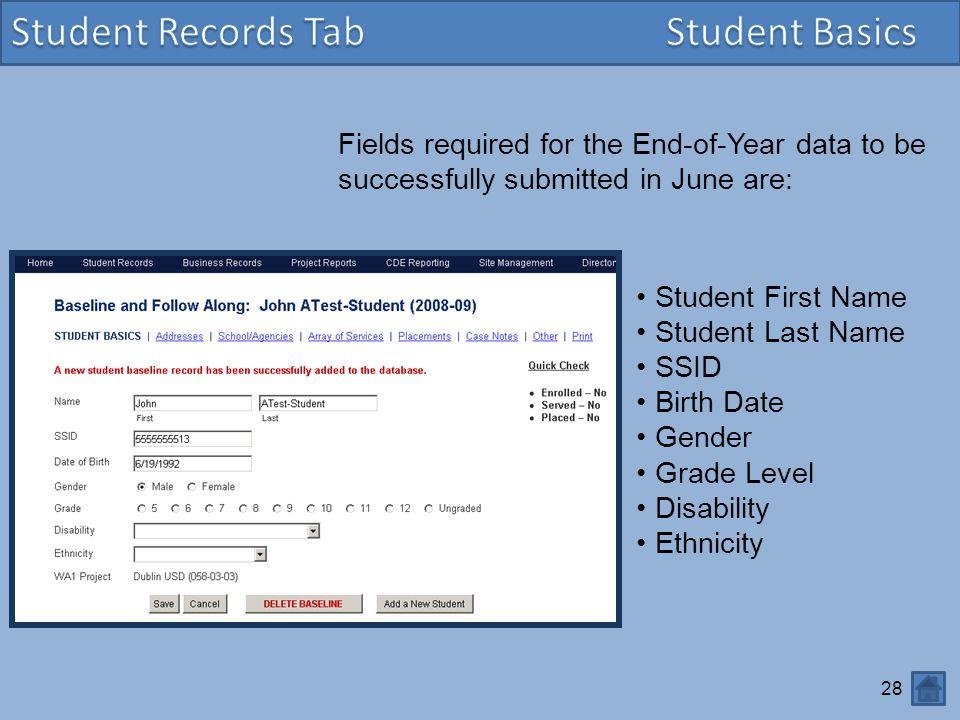 Student Records Tab Student Basics