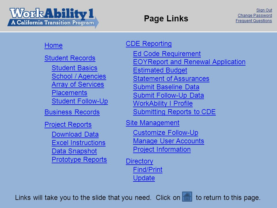 Page Links CDE Reporting Home Ed Code Requirement Student Records