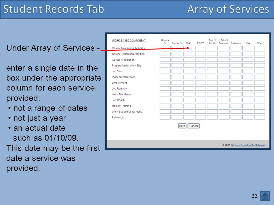 Student Records Tab Array of Services Under Array of Services -