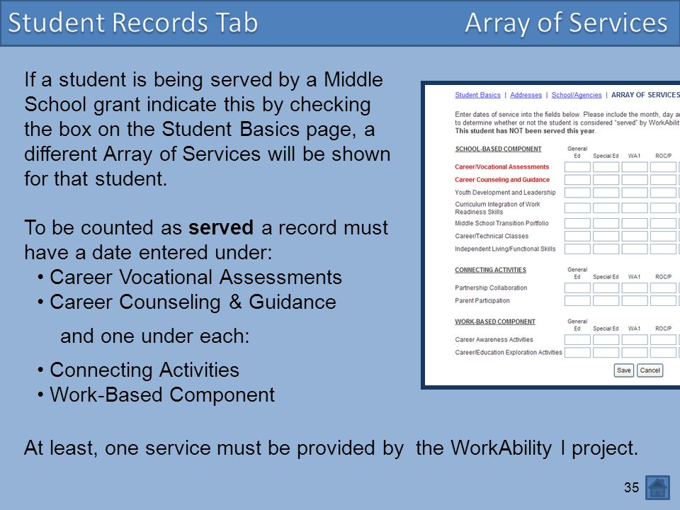 Student Records Tab Array of Services