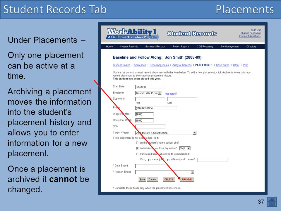 Student Records Tab Placements Under Placements –