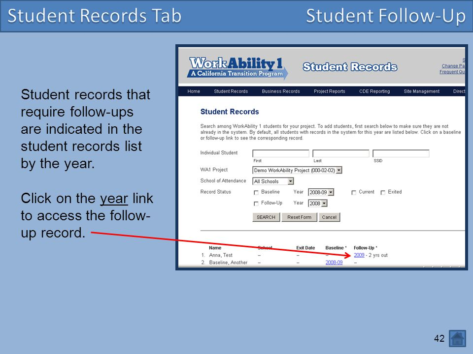 Student Records Tab Student Follow-Up