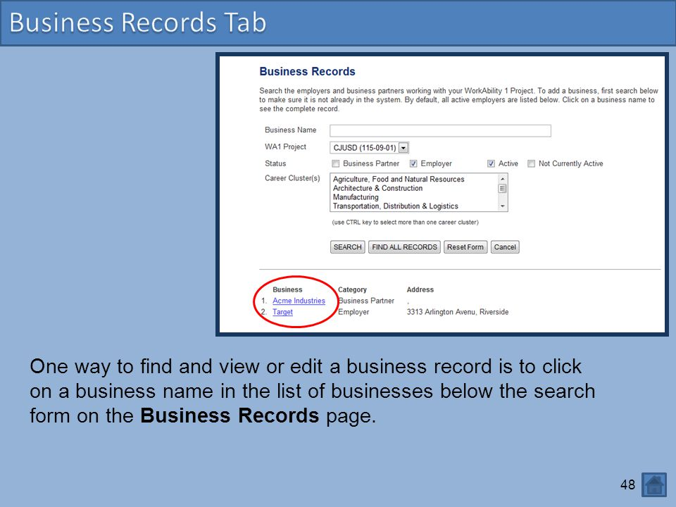 Business Records Tab
