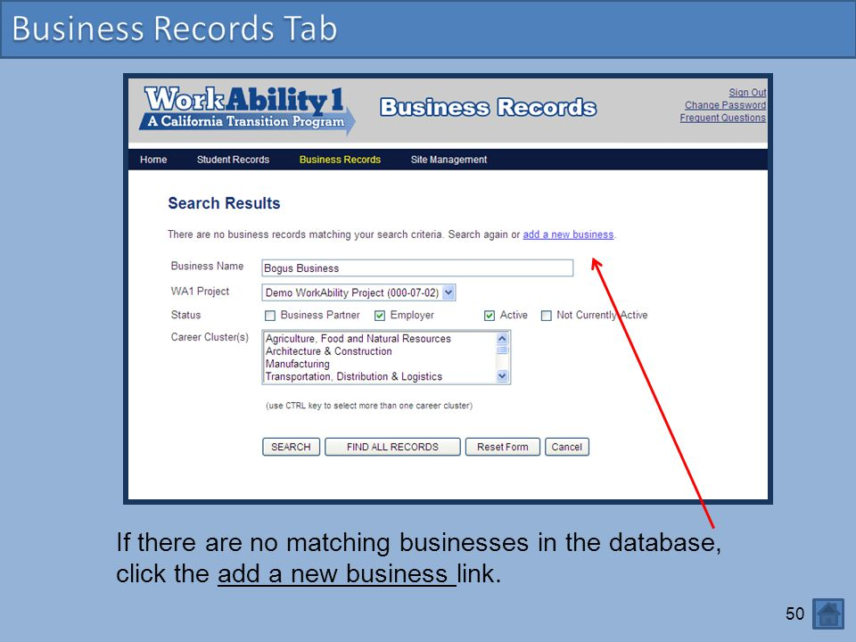 Business Records Business Records Tab
