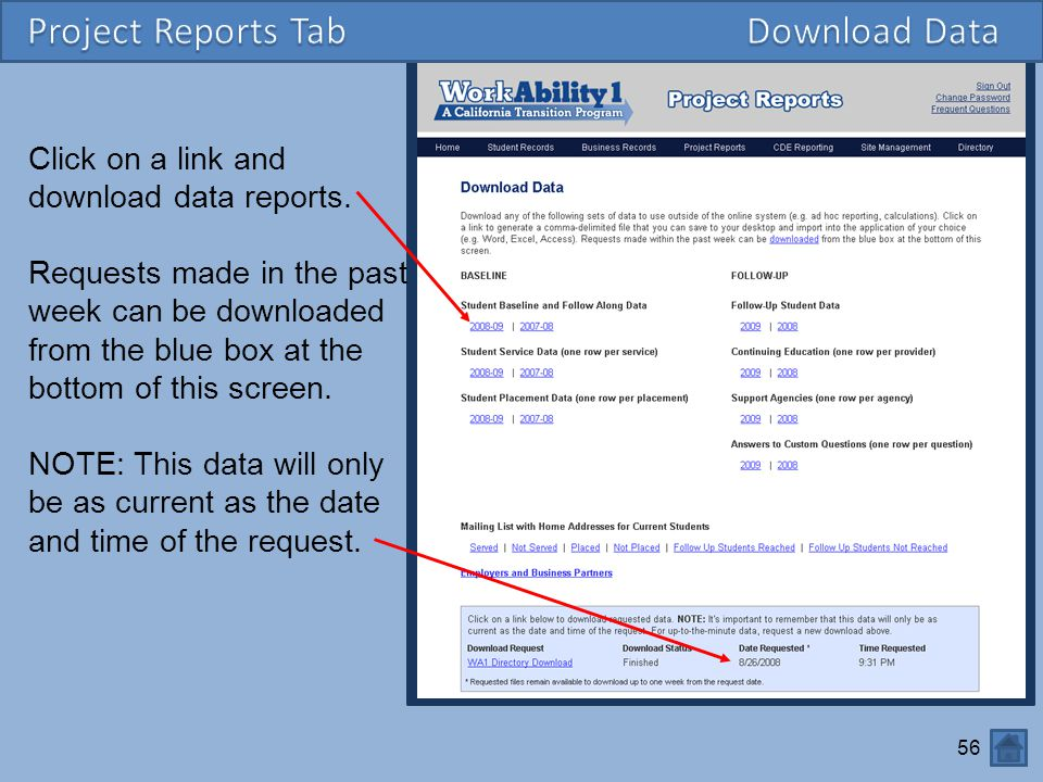 Project Reports Tab Download Data