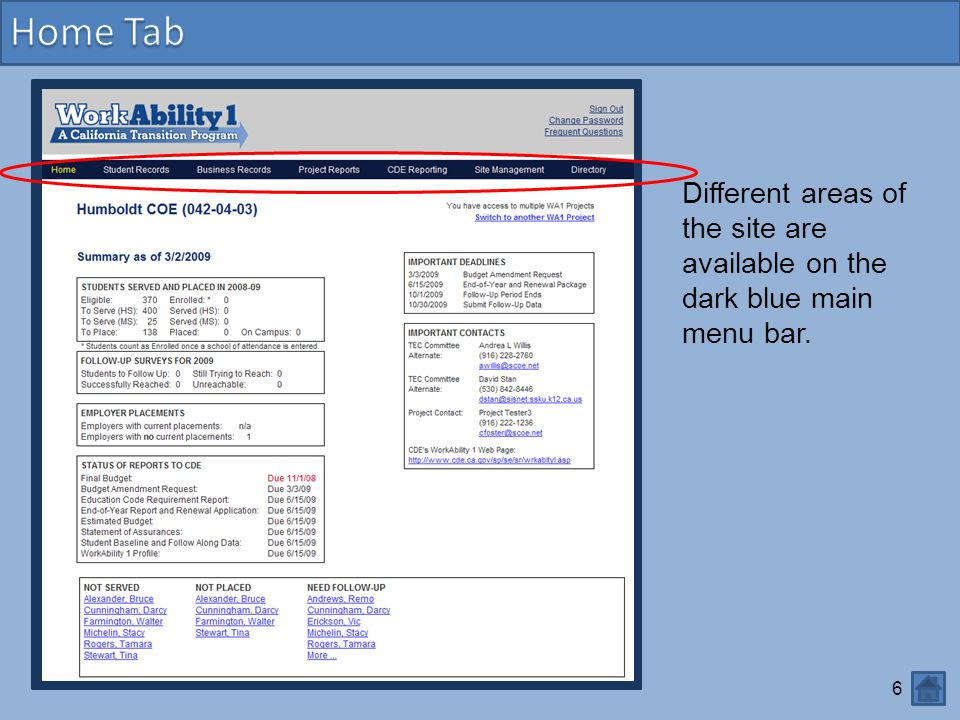 Home Tab Different areas of the site are available on the dark blue main menu bar.