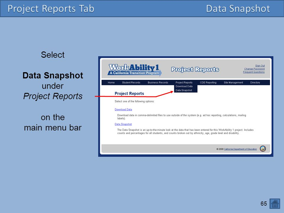 Project Reports Tab Data Snapshot Select Data Snapshot under
