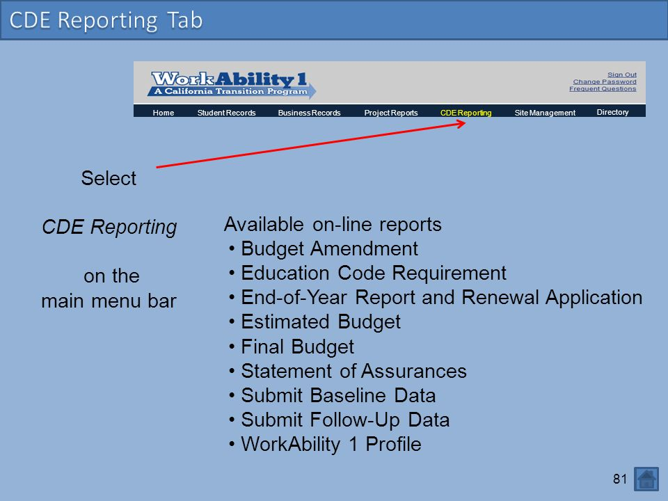CDE Reporting Tab Select CDE Reporting Available on-line reports