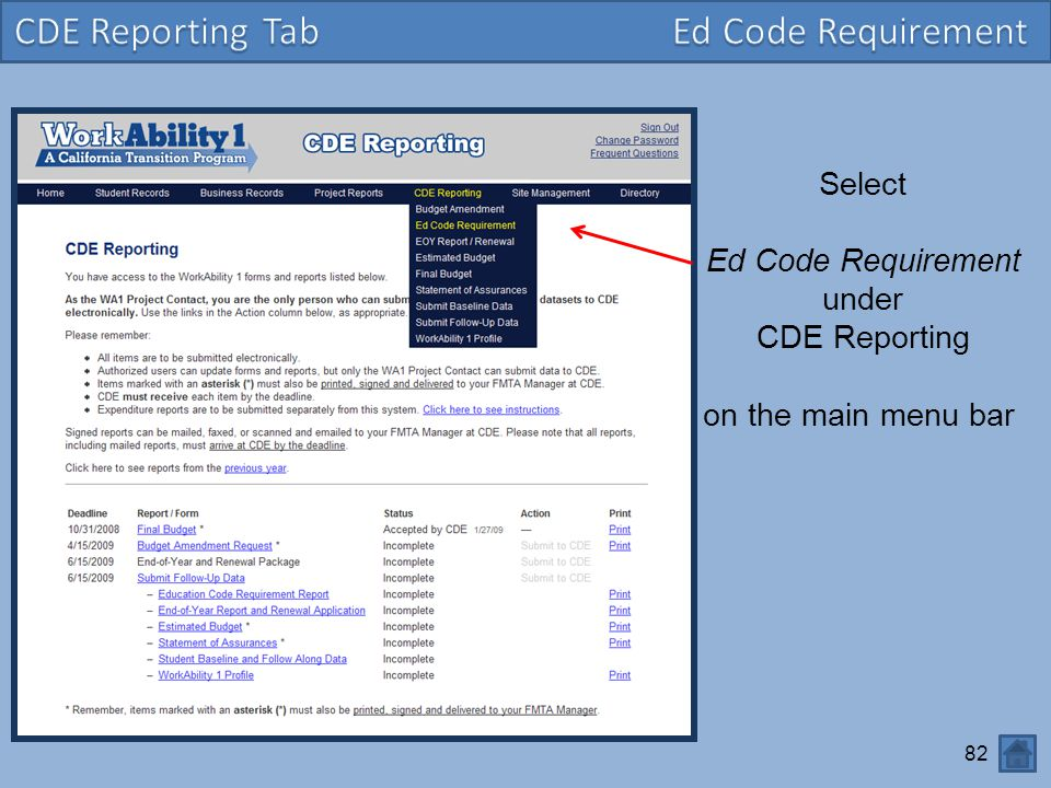 CDE Reporting Tab Ed Code Requirement Select Ed Code Requirement under