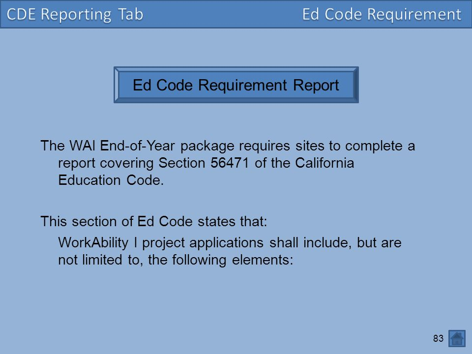 Ed Code Requirement Report