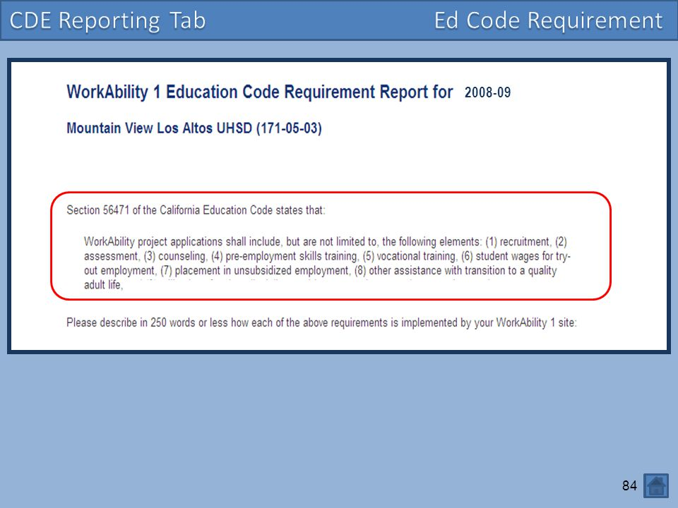 CDE Reporting Tab Ed Code Requirement 2008-09
