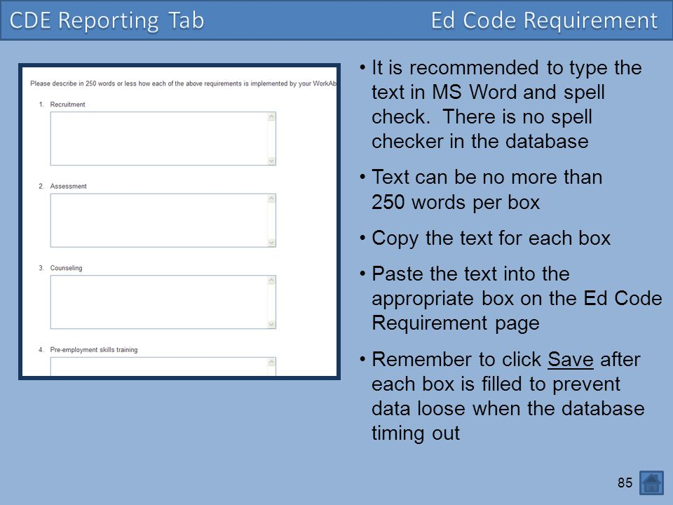CDE Reporting Tab Ed Code Requirement