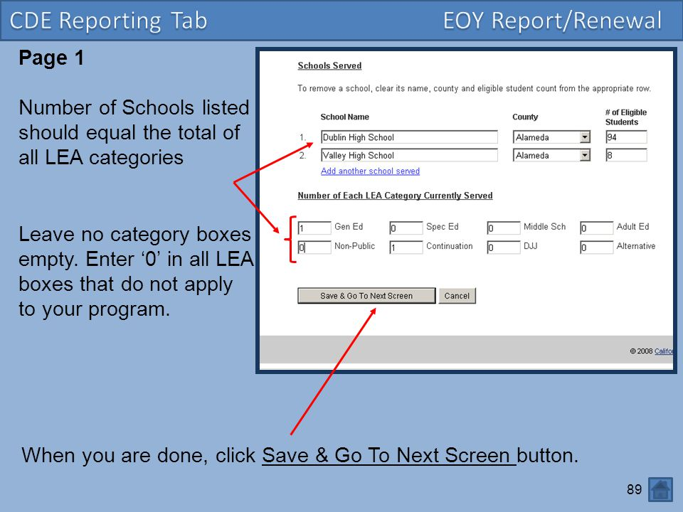 CDE Reporting Tab EOY Report/Renewal Page 1