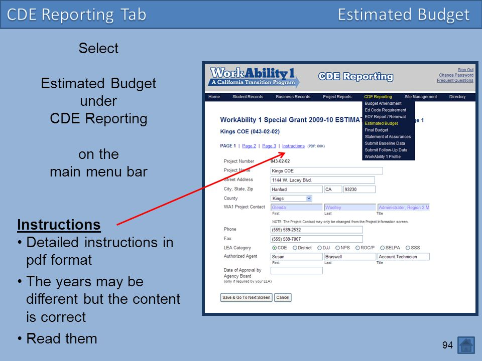 CDE Reporting Tab Estimated Budget Select Estimated Budget under