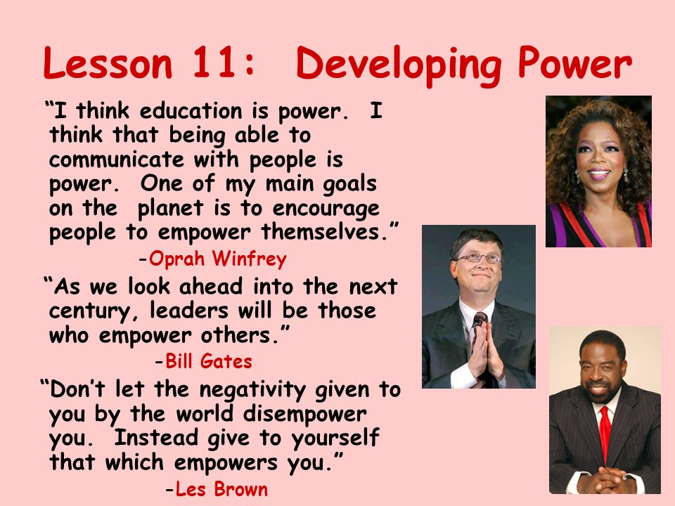 Lesson 11: Developing Power