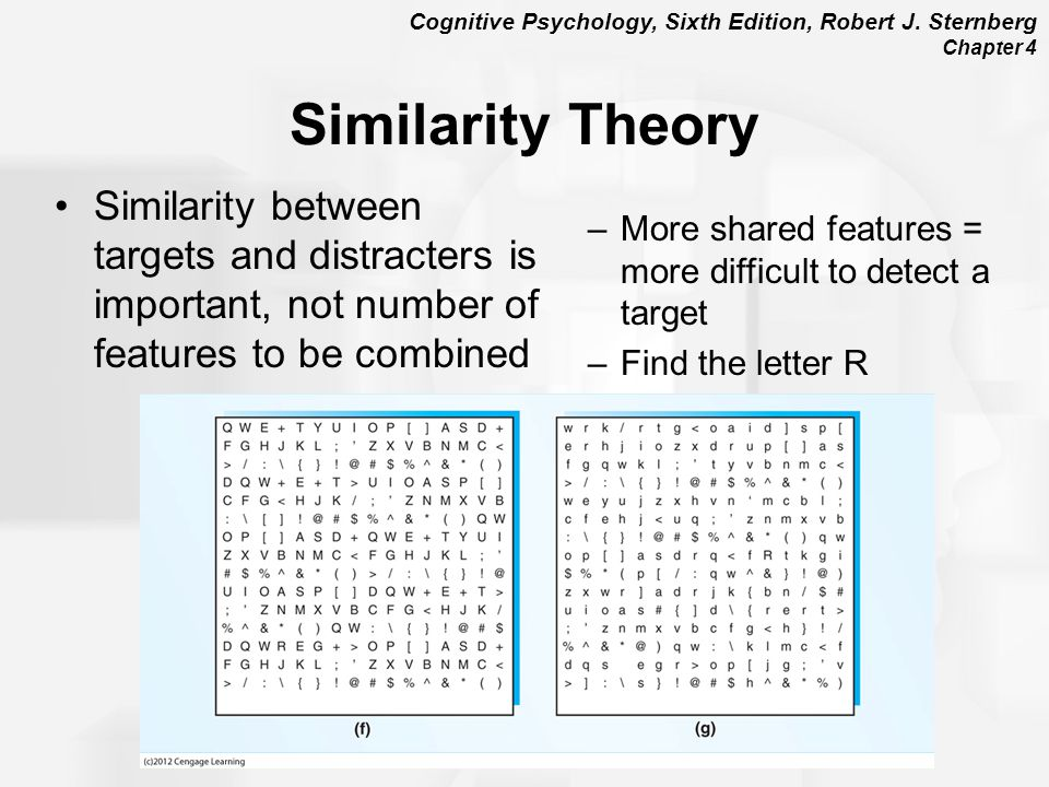 Similarity Theory Similarity between targets and distracters is important, not number of features to be combined.