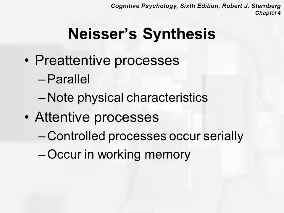 Neisser's Synthesis Preattentive processes Attentive processes