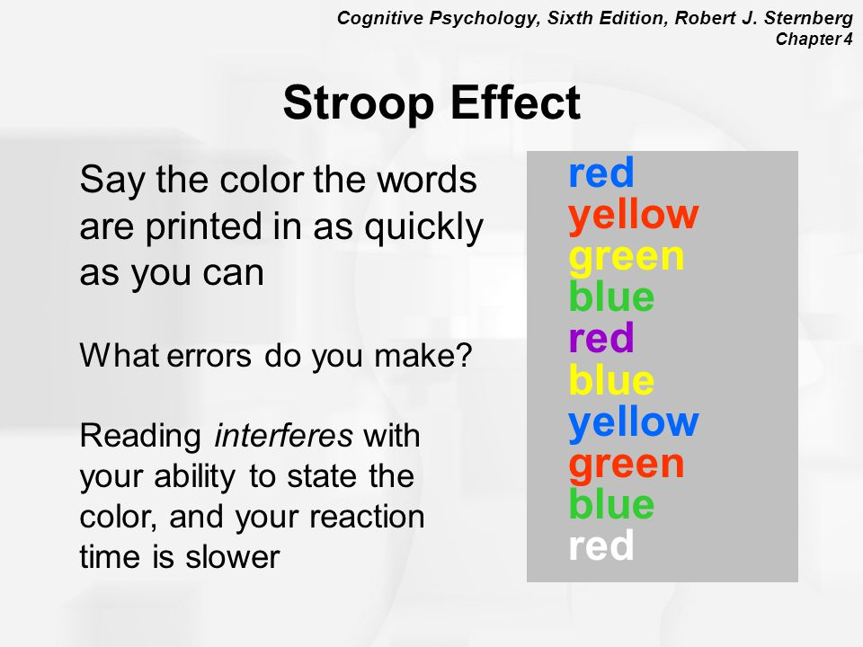 Stroop Effect Say the color the words are printed in as quickly as you can. What errors do you make