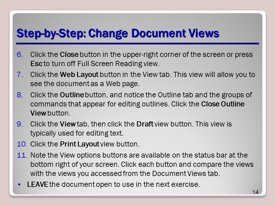 Step-by-Step: Change Document Views
