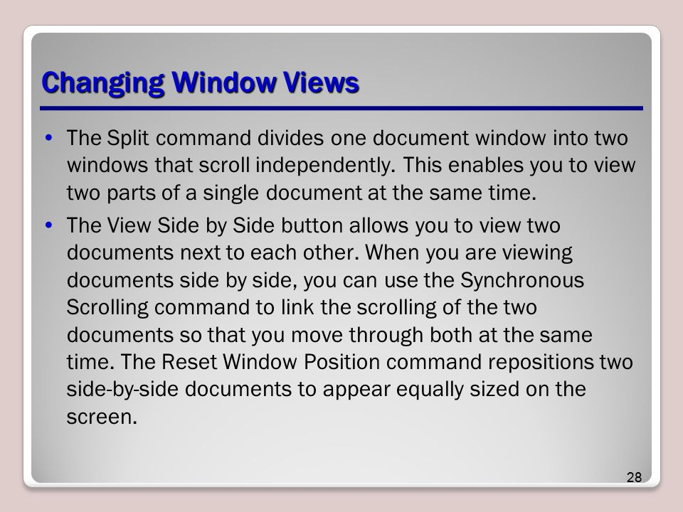 Changing Window Views