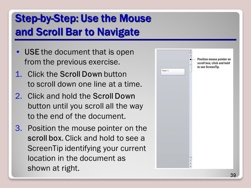 Step-by-Step: Use the Mouse and Scroll Bar to Navigate