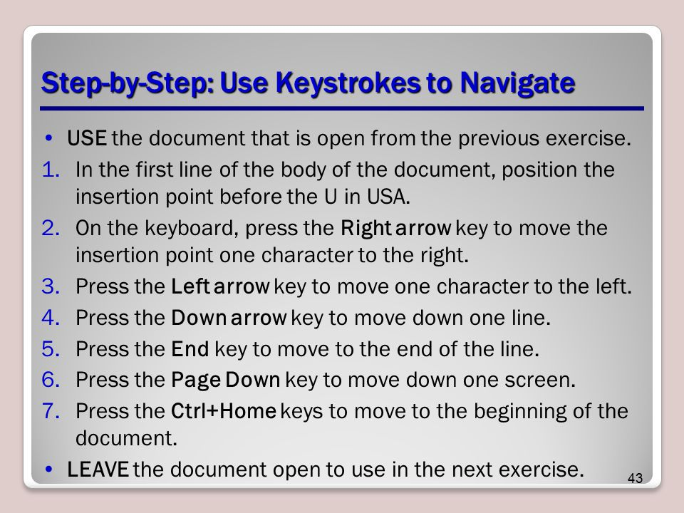Step-by-Step: Use Keystrokes to Navigate