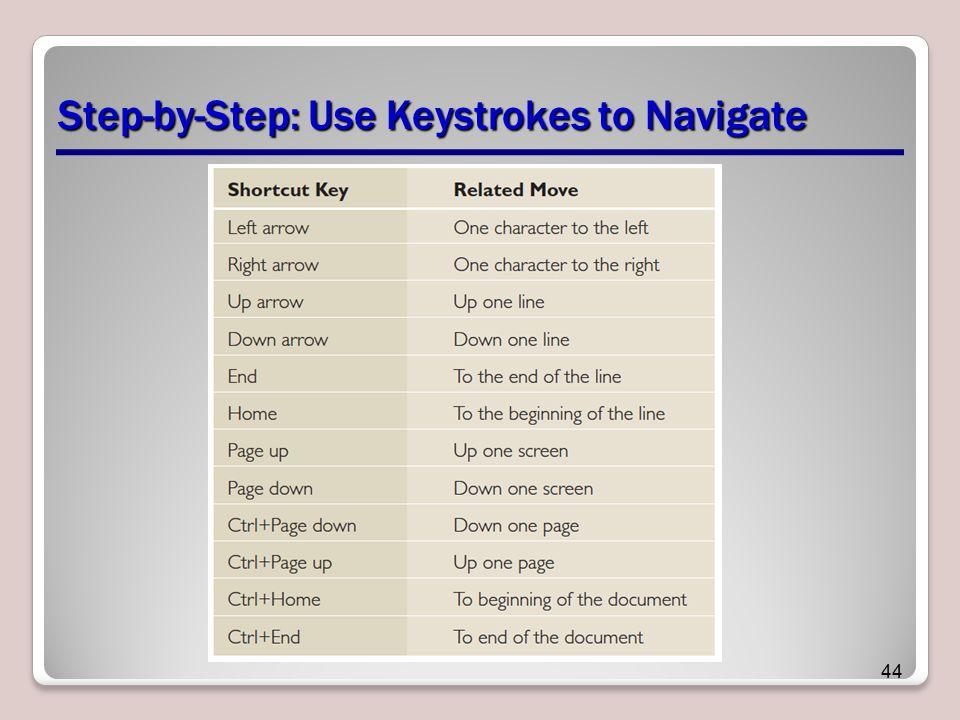 Step-by-Step: Use Keystrokes to Navigate