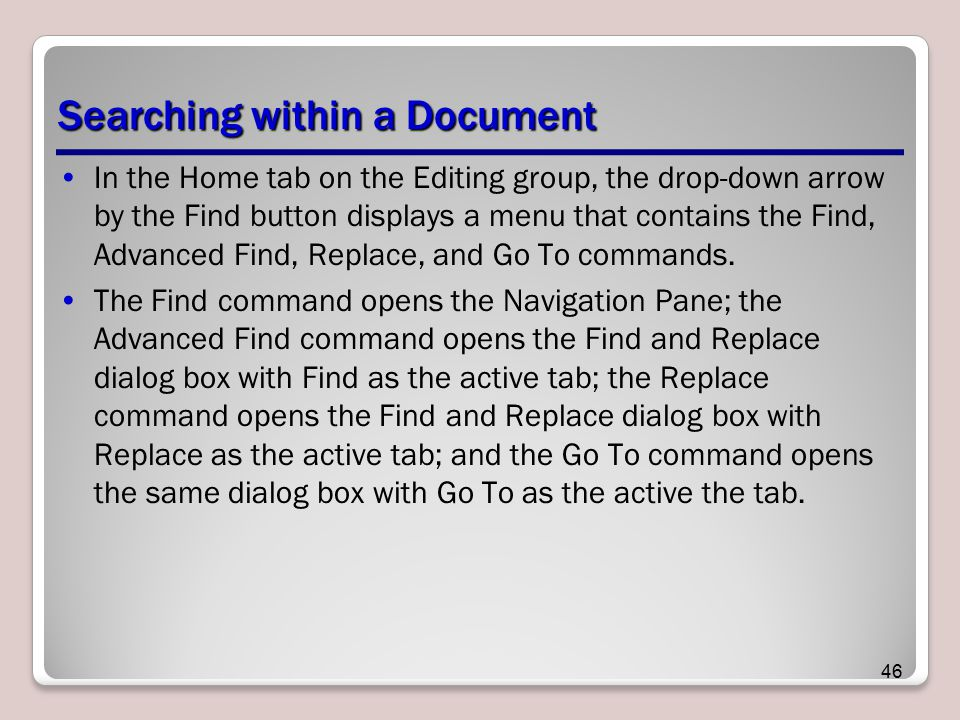 Searching within a Document
