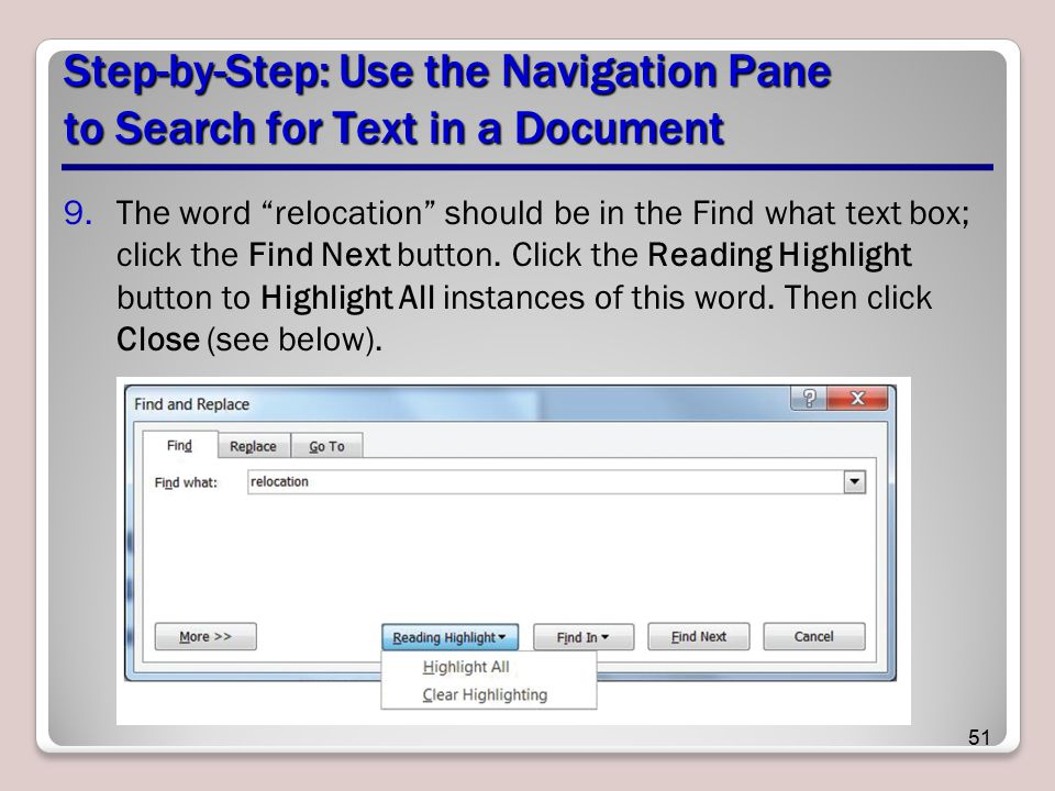 Step-by-Step: Use the Navigation Pane to Search for Text in a Document