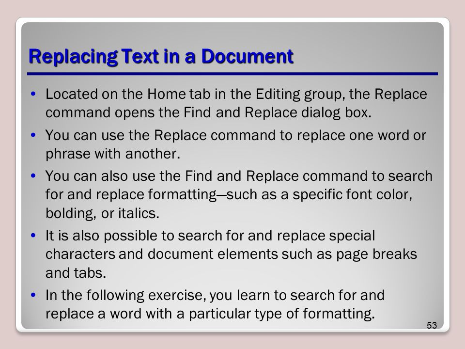 Replacing Text in a Document