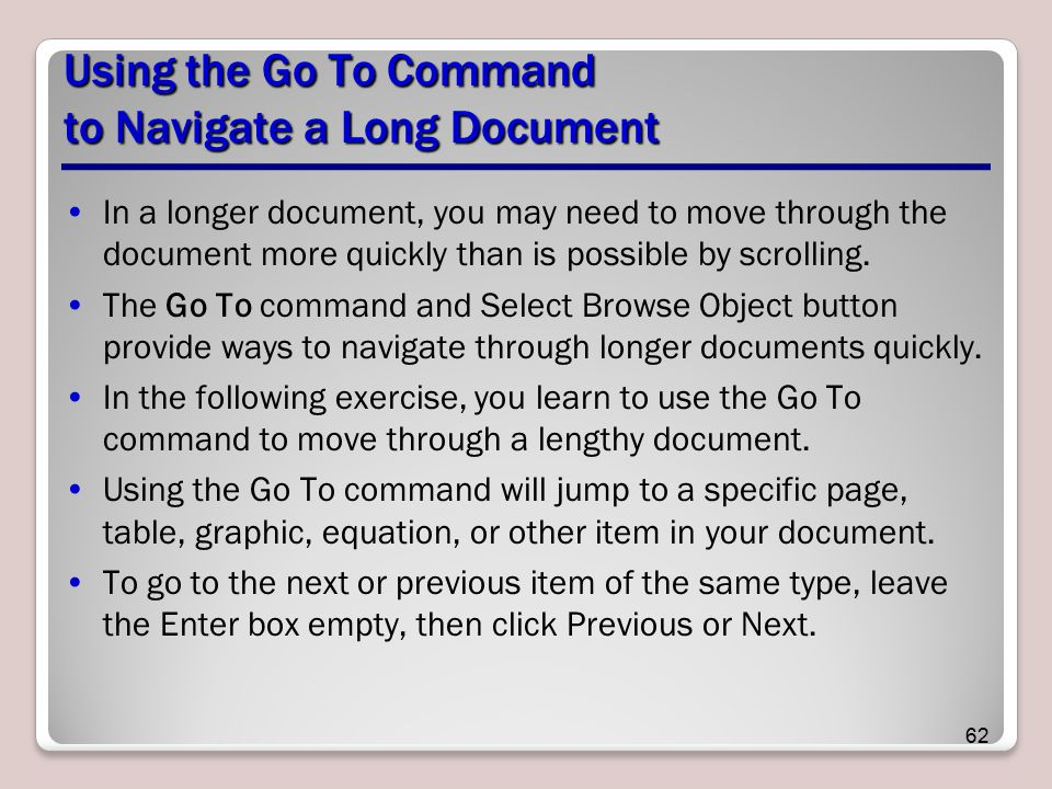 Using the Go To Command to Navigate a Long Document