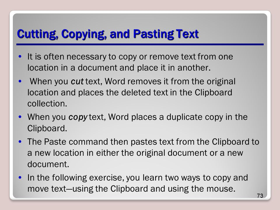 Cutting, Copying, and Pasting Text