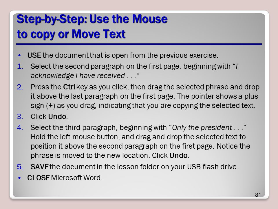 Step-by-Step: Use the Mouse to copy or Move Text
