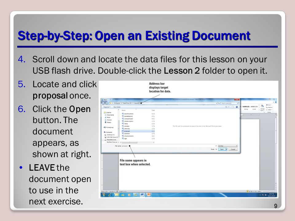 Step-by-Step: Open an Existing Document