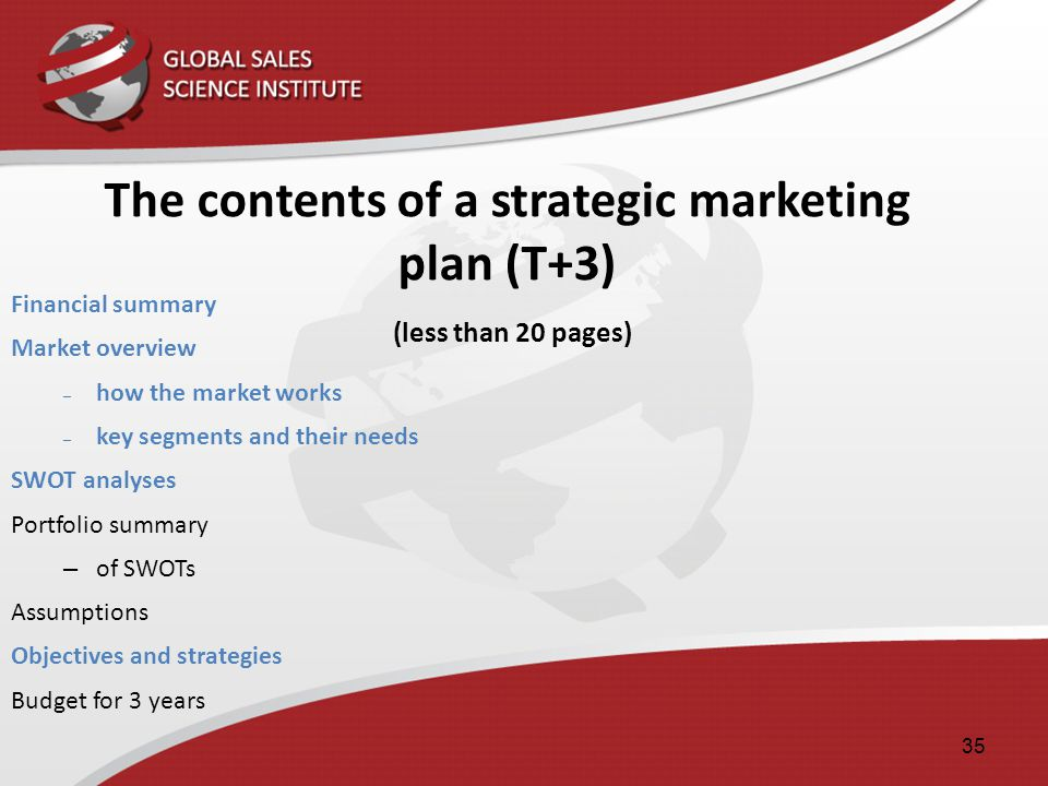 The contents of a strategic marketing plan (T+3) (less than 20 pages)