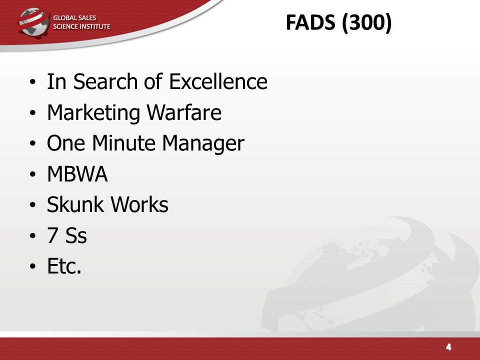 FADS (300) In Search of Excellence Marketing Warfare